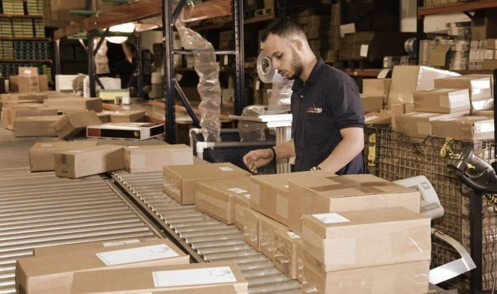 Packing person in warehouse