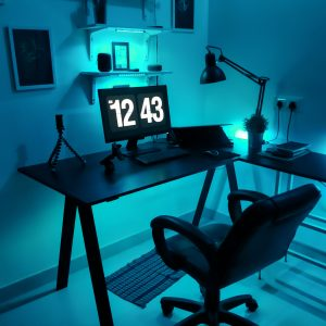 Home Office with monitor and blue night light